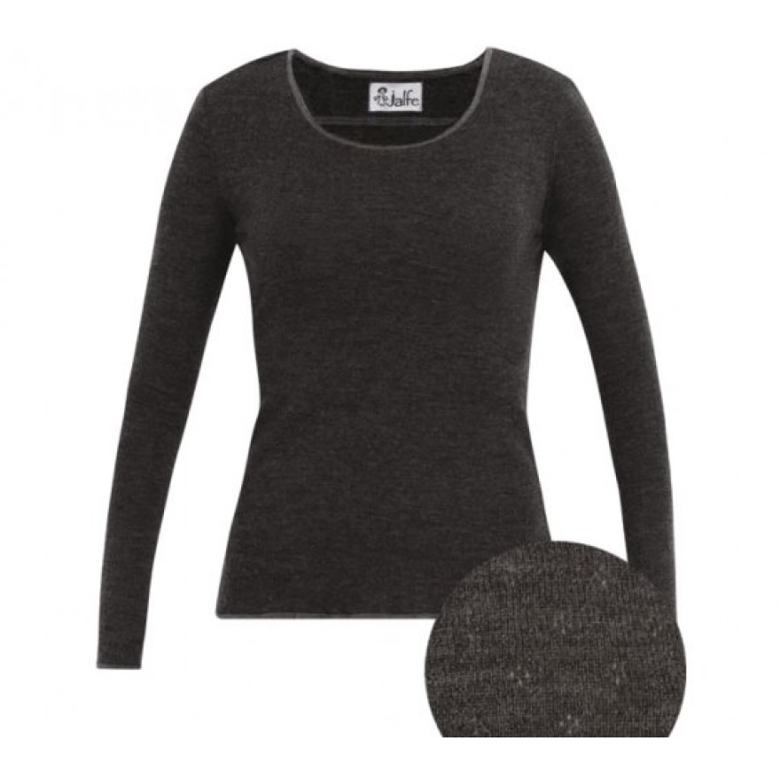 Jalfe Pullover eyelet Wolle anthrazit