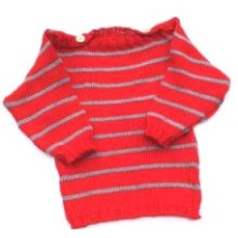 Baby Pullover Baumwolle Ringel rot